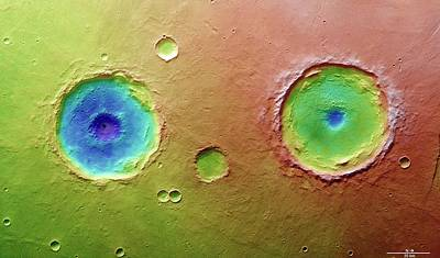 Twin Craters Poster by European Space Agency/dlr/fu Berlin (g. Neukum)
