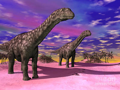 Two Argentinosaurus Dinosaurs Poster by Elena Duvernay