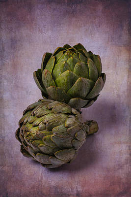 Two Artichokes Poster by Garry Gay