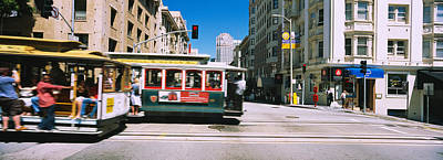Two Cable Cars On A Road, Downtown, San Poster by Panoramic Images