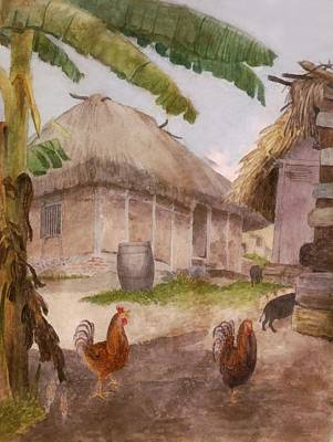 Two Chickens Two Pigs And Huts Jamaica Poster by William Berryman