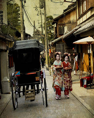 Two Geishas And A Buggy Poster by Juli Scalzi