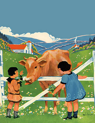 Two Girls And Cow Poster by The  Vault - Jennifer Rondinelli Reilly