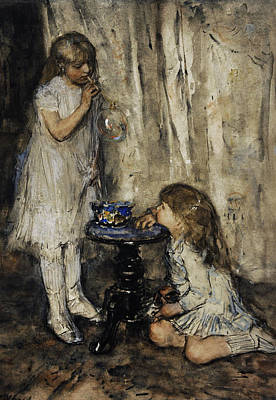 Two Girls Blowing Bubbles Poster by Jacob Maris