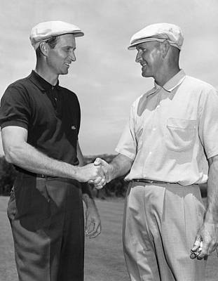 Two Golfers Shake Hands Poster by Underwood Archives