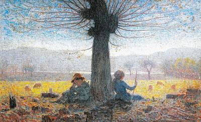 Two Shepherds On The Fields Of Mongini Poster by Giuseppe Pelizza da Volpedo