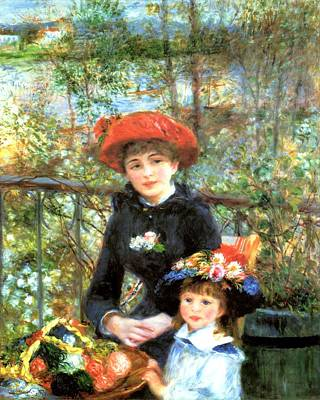 Two Sisters On The Terrace Poster by Pierre-Auguste Renoir