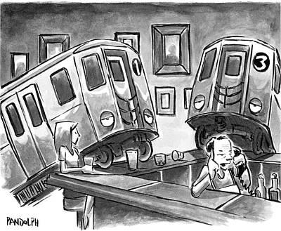 Two Subway Trains Sit Drunk At A Bar Poster by Corey Pandolph