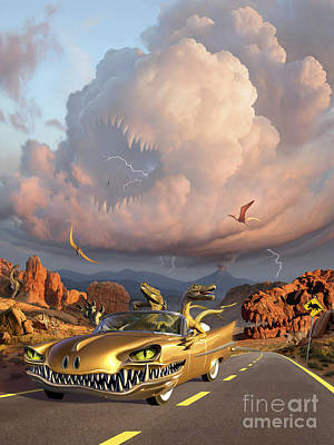 Two Velociraptors In Their Scary Car Poster by Jerry LoFaro
