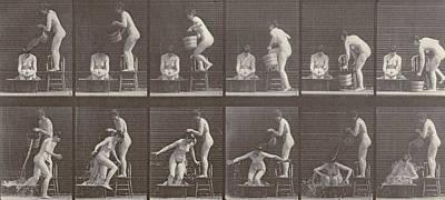 Two Women Bathing Poster by Eadweard Muybridge