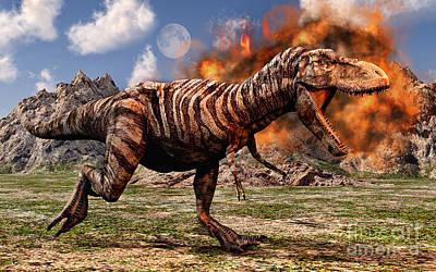 Tyrannosaurus Rex Escaping A Volcanic Poster by Mark Stevenson