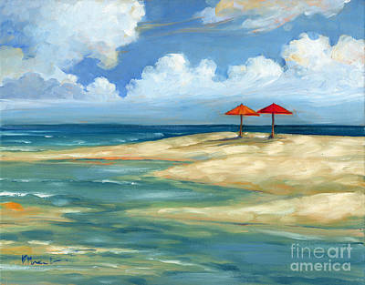 Umbrella Beachscape - Orange And Red Poster by Paul Brent