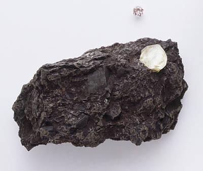 Uncut Diamond In Rock Poster by Dorling Kindersley/uig