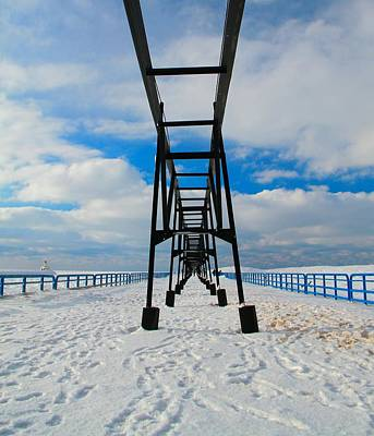 Under The Pier At Saint Joseph Michigan In Winter Poster by Dan Sproul