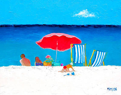 Under The Red Umbrella Poster by Jan Matson