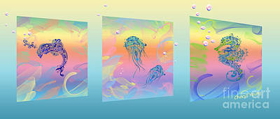 Under The Sea Triptych Poster by Cheryl Young