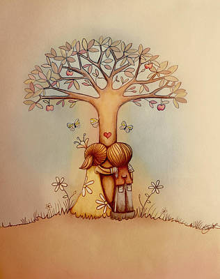 Underneath The Apple Tree Poster by Karin Taylor