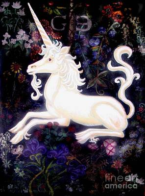 Unicorn Floral Poster by Genevieve Esson