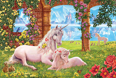 Unicorn Mother And Foal Poster by Steve Crisp