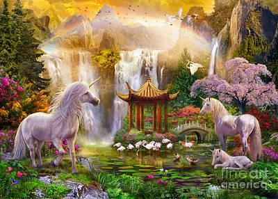 Unicorn Valley Of The Waterfalls Poster by Jan Patrik Krasny