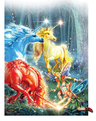 Unicorns And Fairies Poster by Zorina Baldescu