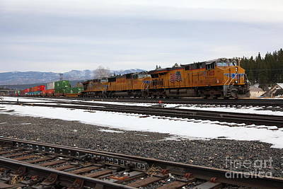 Union Pacific Trains In Snowy Truckee California 5d27559 Poster by Wingsdomain Art and Photography