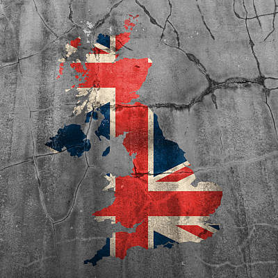 United Kingdom Uk Union Jack Flag Country Outline Painted On Old Cracked Cement Poster by Design Turnpike