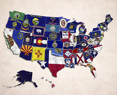 United States Map With Fifty States Poster by World Art Prints And Designs