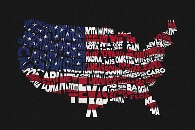 United States Typographic Map Flag - Black Background Poster by Ayse Deniz