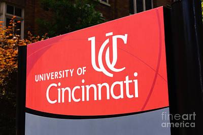 University Of Cincinnati Sign Poster by Paul Velgos