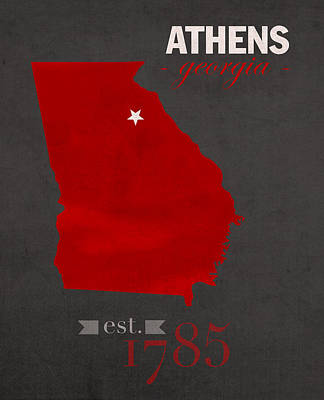 University Of Georgia Bulldogs Athens College Town State Map Poster Series No 040 Poster by Design Turnpike