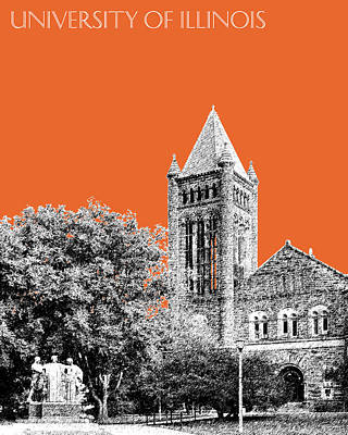 University Of Illinois 2 - Altgeld Hall - Coral Poster by DB Artist