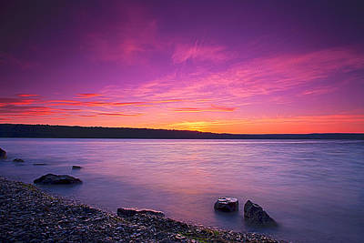 Sunrise In Cayuga Lake II Ithaca New York Poster by Paul Ge