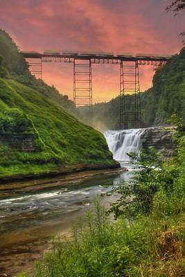 Upper Falls Of Letchworth Poster by Lori Deiter