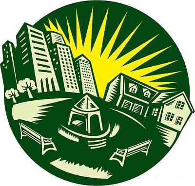 Urban Building Park House Woodcut Poster by Aloysius Patrimonio