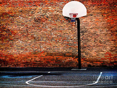 Urban Street Basketball Court And Hoop Poster by Lane Erickson
