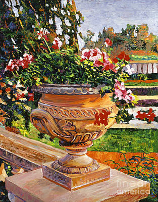 Urn Of English Geraniums Poster by David Lloyd Glover