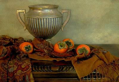 Classic Urn With Persimmons Poster by Diana Angstadt