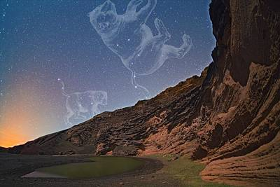 Ursae Constellations Over Volcanic Lagoon Poster by Juan Carlos Casado (starryearth.com)
