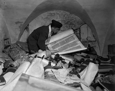 Us Army Jewish Chaplain Examines Torahs Poster by Everett