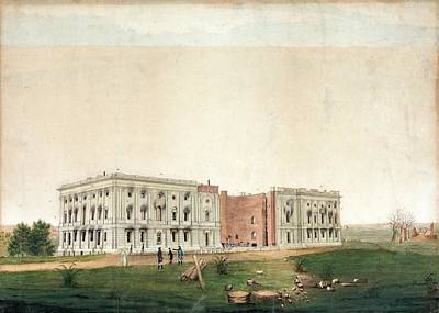 Us Capitol After 1814 Burning Poster by Library Of Congress