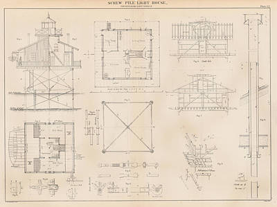 U.s. Coast Guard Drawing Of A Screw Pile Lighthouse Poster by Jerry McElroy - Public Domain Image