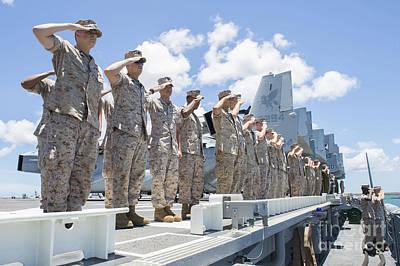 U.s. Marines And Sailors Render Honors Poster by Stocktrek Images