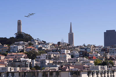 Us Navy Blue Angels F18 Supersonic Jets Through San Francisco Coit Tower Dsc1753 Poster by Wingsdomain Art and Photography
