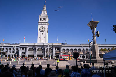 Us Navy Blue Angels F18 Supersonic Jets Through San Francisco Ferry Building At Fleet Week Dsc1745 Poster by Wingsdomain Art and Photography