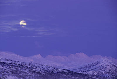 Usa, Alaska, Alaska Range, Full Moon Poster by Gerry Reynolds