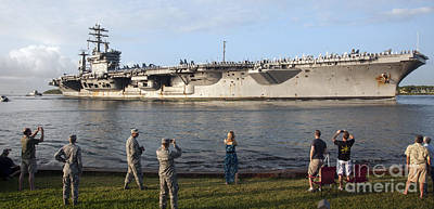 Uss Nimitz Arrives At Joint Base Pearl Poster by Stocktrek Images