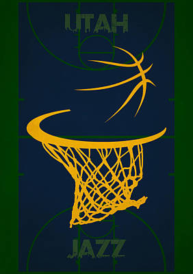 Utah Jazz Court Poster by Joe Hamilton
