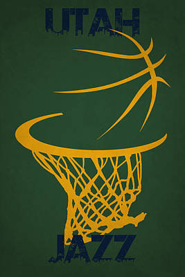 Utah Jazz Hoop Poster by Joe Hamilton
