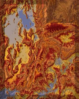 Utah Map Art Poster by Paul Hein